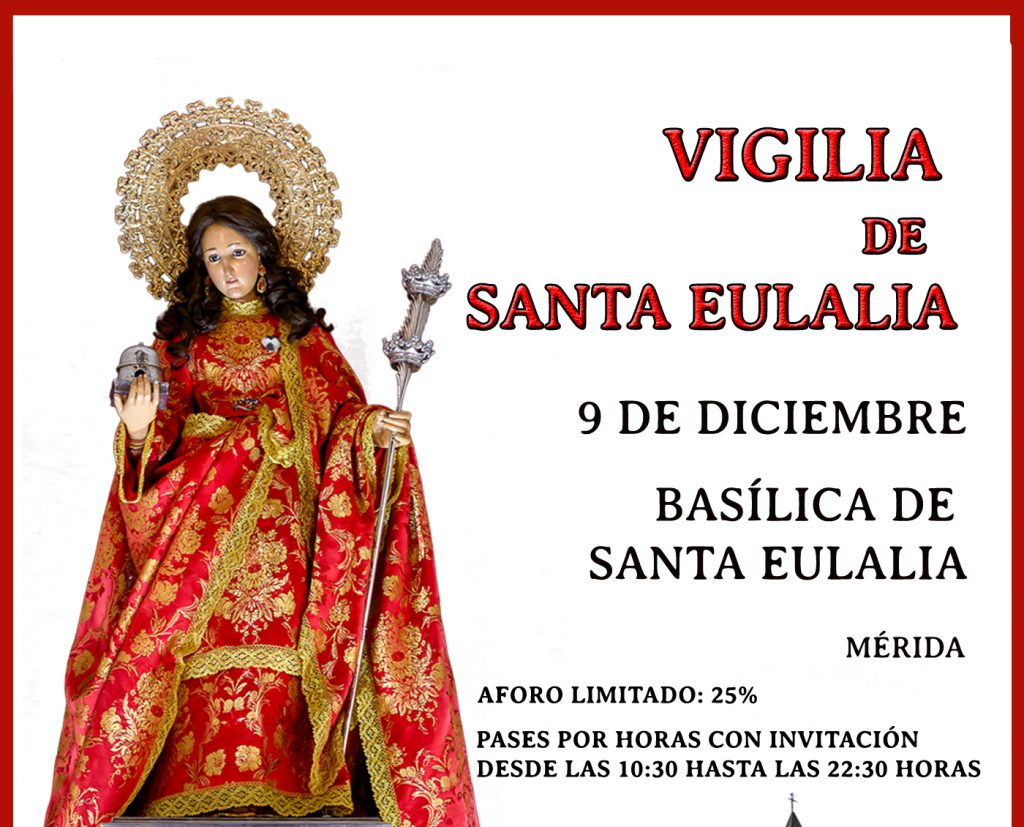 Vigilia de Oración y Misa Solemne en el Anfiteatro Romano los días 9 y 10 de diciembre con motivo de la festividad de Santa Eulalia